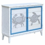 Block Island Whitewash 2 Door Crab and Turtle Wood Cabinet