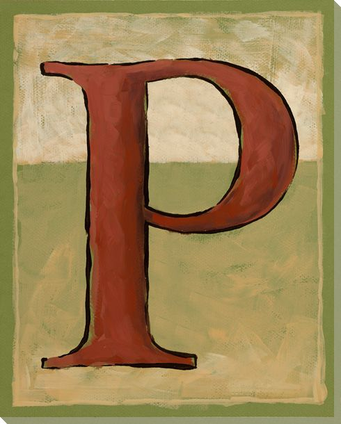 Wall Decor Block Letters : Block letter p wrapped canvas giclee art print wall