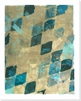 Block Print Patterns Blue 2 Wrapped Canvas Giclee Print Wall Art