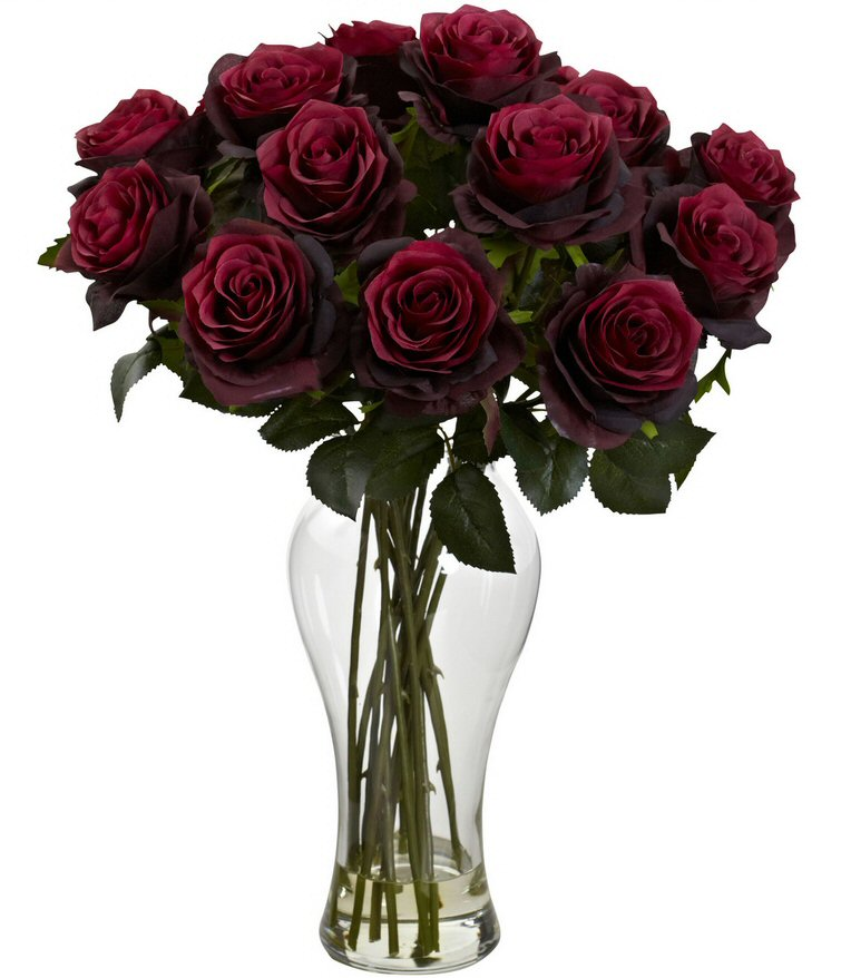 Blooming burgundy roses silk flower arrangement with vase blooming burgundy roses silk flower arrangement with vase mightylinksfo