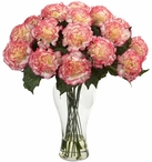 Blooming Cream and Pink Carnation Silk Flower Arrangement with Vase
