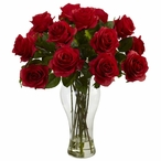 Blooming Red Roses Silk Flower Arrangement with Vase