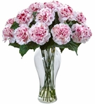 Blooming White and Mauve Carnation Silk Flower Arrangement with Vase