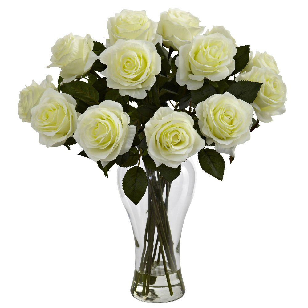 blooming white roses silk flower arrangement with vase. Black Bedroom Furniture Sets. Home Design Ideas