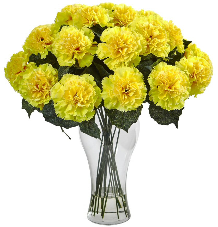 Blooming yellow carnation silk flower arrangement with vase blooming yellow carnation silk flower arrangement with vase mightylinksfo