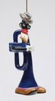 Blue and Jazz Trumpet Christmas Tree Ornaments by Ed Sussman, Set of 4