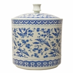 Blue and White Birds Flying Covered Porcelain Tea Jar