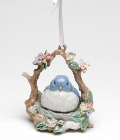 blue bird musical christmas tree ornaments set of 2