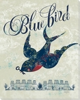 """Blue Bird"" of Happiness Wrapped Canvas Giclee Print Wall Art"