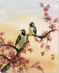 Blue Birds Autumn Wrapped Canvas Giclee Print Wall Art