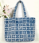 Blue Block Printed Sturdy Woven Fabric Tote Bag