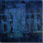 """Blue"" Block Wrapped Canvas Giclee Print Wall Art"