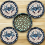 Blue Crab Braided Jute Coasters and Basket Holder, Set of 10