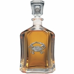 Blue Crab Capitol Glass Decanter with Pewter Accents