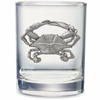Blue Crab Pewter Accent Double Old Fashion Glasses, Set of 2