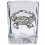 Blue Crab Pewter Accent Shot Glasses, Set of 4