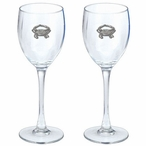 Blue Crab Pewter Accent Wine Glass Goblets, Set of 2