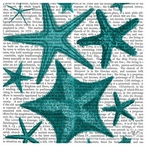 Blue Green Starfish Collection Print Beverage Coasters, Set of 12