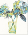 Blue Hydrangea Flowers in a Vase Wrapped Canvas Giclee Print