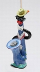 Blue & Jazz Saxophones Christmas Tree Ornament by Ed Sussman, Set of 4
