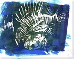 Blue Lion Fish 1 Wrapped Canvas Giclee Print Wall Art