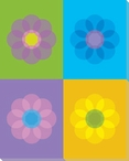 Blue Mod Flower One Wrapped Canvas Giclee Print Wall Art