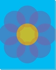Blue Mod Flower Two Wrapped Canvas Giclee Print Wall Art