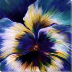 Blue Pansy Flower Detail Wrapped Canvas Giclee Print Wall Art