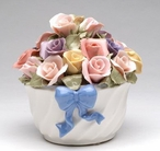 Blue Ribbon Flower Bouquet Musical Music Box Sculpture