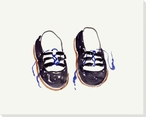 Blue Shoes Wrapped Canvas Giclee Print Wall Art