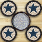 Blue Star Braided Jute Coasters and Basket Holder, Set of 10
