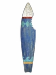 Blue Surfboard with Shark Bite Vintage Style Cutout Metal Sign
