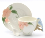 Bluebird & Apple Blossom Porcelain Cups, Saucers and Spoons, Set of 6
