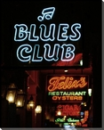 Blues Club Neon Sign Wrapped Canvas Giclee Print Wall Art
