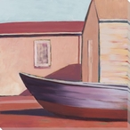 Boat House Color Block 1 Wrapped Canvas Giclee Print Wall Art