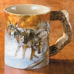 Body Language Wolves Sculpted Stoneware Coffee Mugs, Set of 6