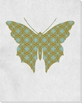 Bold Butterfly Blue & Brown Wrapped Canvas Giclee Print Wall Art