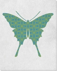 Bold Butterfly Blue & Green Wrapped Canvas Giclee Print Wall Art