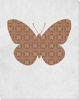 Bold Butterfly Olive & Brick Wrapped Canvas Giclee Print Wall Art