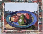 Bordered Bowl of Fruit Wrapped Canvas Giclee Print Wall Art