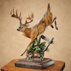 Bound for Cover Whitetail Deer Hand Painted Sculpture