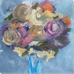 Bouquet of Colorful Flowers Wrapped Canvas Giclee Print Wall Art
