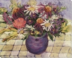 Bouquet of Flowers in a Purple Vase Wrapped Canvas Giclee Print