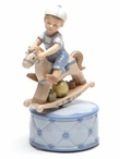 Boy Riding a Rocking Horse Musical Music Box Sculpture