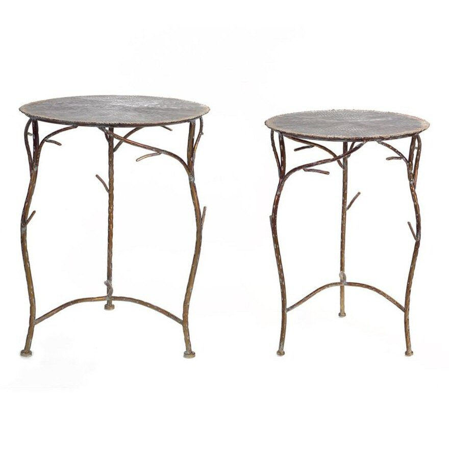 Branch Legs Metal Side Tables, Set Of 2