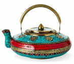 Brass and Turquoise Stone Decorative Kettle