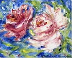 Bright Peony Flowers Wrapped Canvas Giclee Print Wall Art
