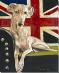 British Whippet Dog Wrapped Canvas Giclee Print Wall Art