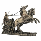 Bronze Achilles on a Two Horse Chariot Sculpture