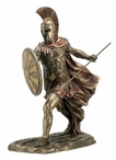 Bronze Achilles with Spear and Shield Greek Sculpture